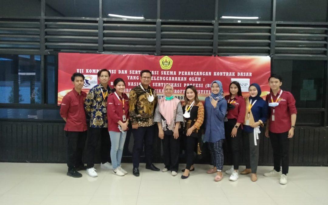Pelaksanaan Uji Kompetensi dan Sertifikasi Perancangan Kontrak Dasar Diselenggarakan oleh Badan Sertifikasi Profesi (BNSP), Lembaga Sertifikasi Profesi Justitia, dan Universitas Borobudur